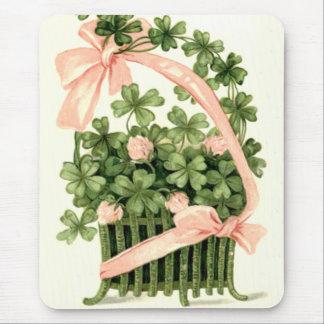 Basket Pink Ribbon Shamrock Four Leaf Clover Mouse Pad