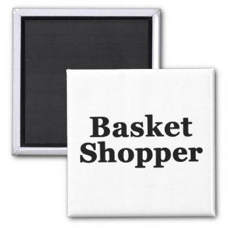 Basket Shopper Square Magnet