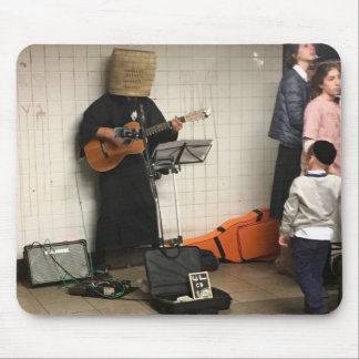 Basket-Wearing NYC Subway Busker Mouse Mat