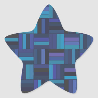 Basket Weave Dark Blue Star Sticker