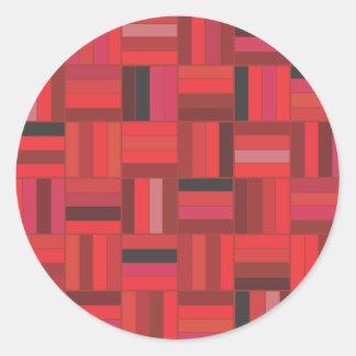 Basket Weave Red Round Sticker