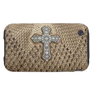 Basket Weaved Rhinestone Pearl Cross IPhone3 Case