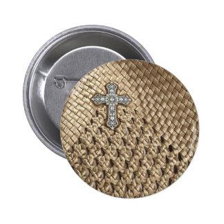 Basket Weaved Rhinestone Pearl Cross Pin Button