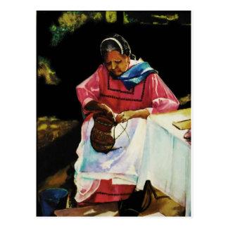 basket weaver postcard