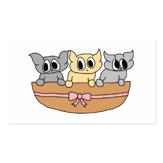 Basket with 3 Kittens, Cartoon. Business Card Template