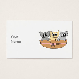 Basket with 3 Kittens, Cartoon. Business Card