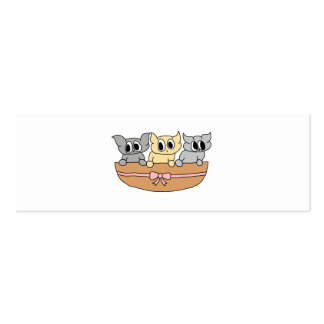 Basket with 3 Kittens, Cartoon. Pack Of Skinny Business Cards