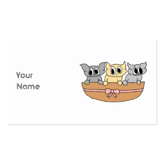 Basket with 3 Kittens, Cartoon. Pack Of Standard Business Cards