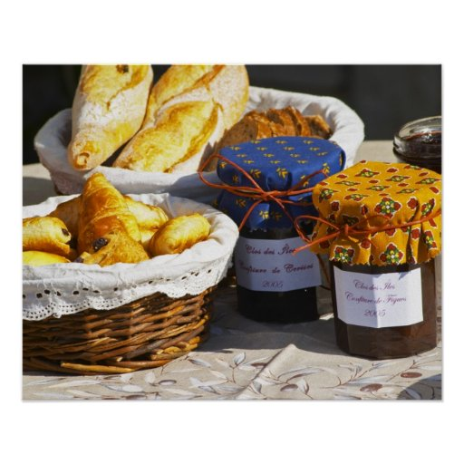 Basket with croissants and chocolate breads. print