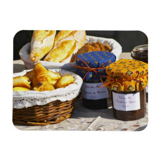 Basket with croissants and chocolate breads. rectangular photo magnet