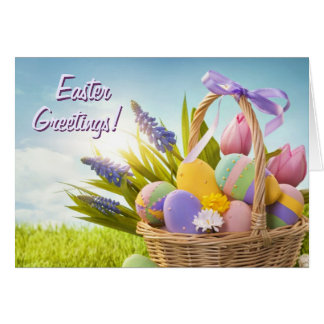 Basket with Easter Eggs on Green Grass Card