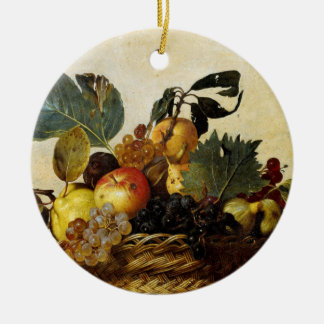 Basket with Fruit, Caravaggio Christmas Ornament