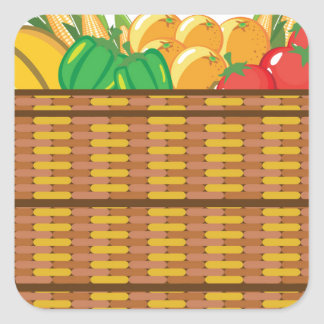 Basket with fruits and vegetables vector square sticker