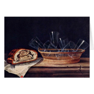 Basket With Glass Pie And A Letter By Stoskopff Card