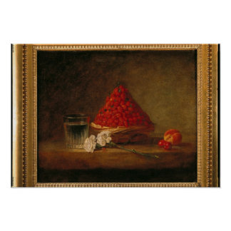 Basket with Wild Strawberries, c.1761 Poster
