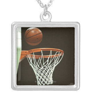 Basketball 5 square pendant necklace