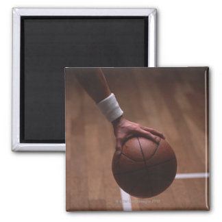 Basketball 6 square magnet
