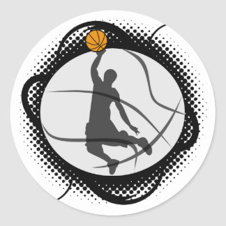 Basketball Abstract Round Sticker