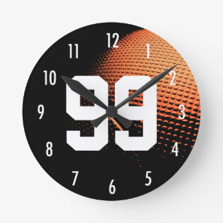 Basketball All Star Custom Number Sport Theme Round Clock