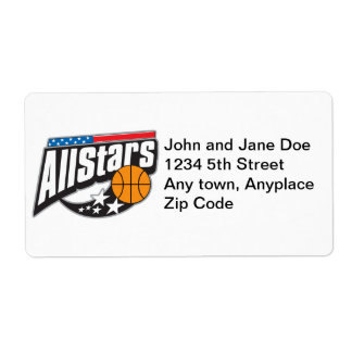 Basketball All Stars Shipping Label