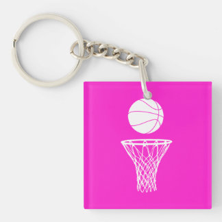 Basketball and Hoop Acrylic Keychain  Pink