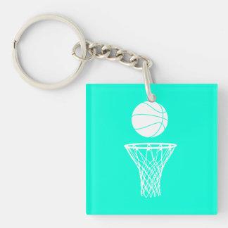 Basketball and Hoop Acrylic Keychain  Turquoise
