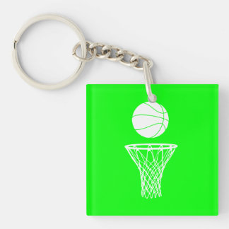 Basketball and Hoop Acrylic Keychain w Name Green