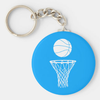 Basketball and Hoop Keychain  Blue