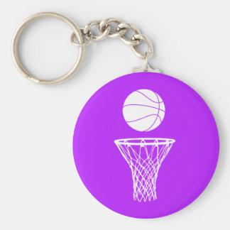Basketball and Hoop Keychain  Purple