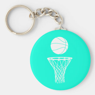 Basketball and Hoop Keychain  Turquoise