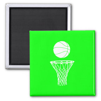 Basketball and Hoop Magnet Green