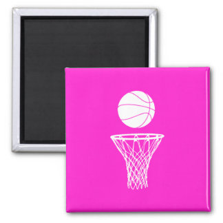 Basketball and Hoop Magnet Pink