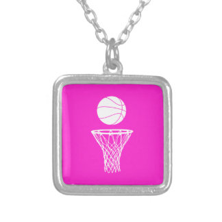 Basketball and Hoop Necklace Pink