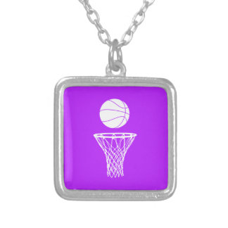 Basketball and Hoop Necklace Purple