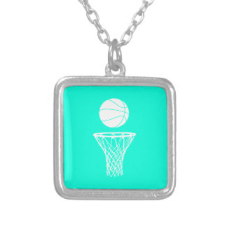 Basketball and Hoop Necklace Turquoise