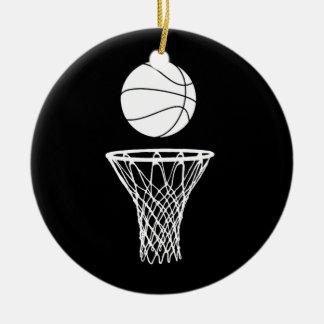 Basketball and Hoop Ornament w/Name Black
