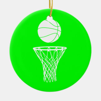 Basketball and Hoop Ornament w/Name Green