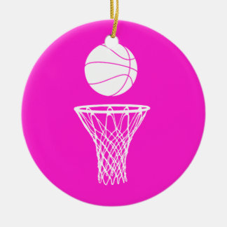 Basketball and Hoop Ornament w/Name Pink