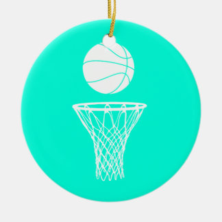 Basketball and Hoop Ornament w/Name Turquoise
