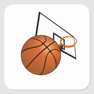 Basketball and Hoop Square Sticker