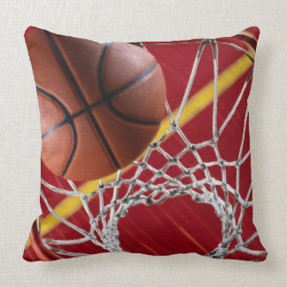 Basketball and Net Square Throw Pillow Throw Cushion