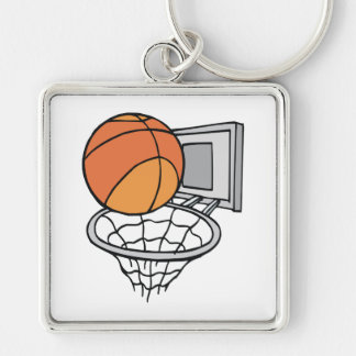 basketball and net vector graphic Silver-Colored square key ring