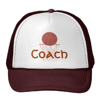 Basketball and net, with Coach sports hats