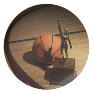 Basketball and trophy on basketball court, plate