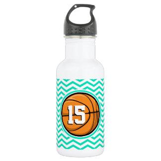 Basketball; Aqua Green Chevron 532 Ml Water Bottle