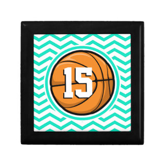 Basketball Aqua Green Chevron Gift Box