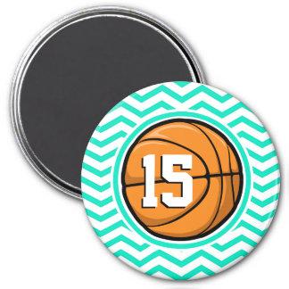 Basketball Aqua Green Chevron Magnet