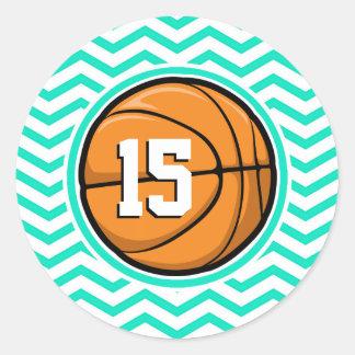Basketball Aqua Green Chevron Round Stickers