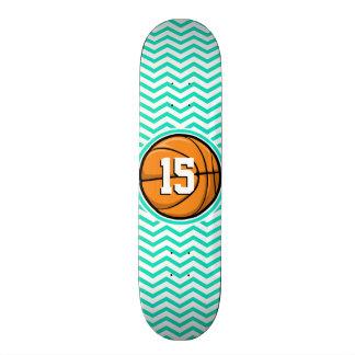 Basketball; Aqua Green Chevron Skateboard Decks