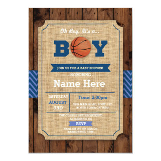 Basketball Baby Shower Oh Boy Blue Wood Invite